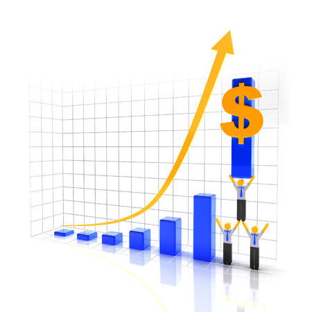 increasing: Team of workers and graph showing trend of increasing profit, 3d render Stock Photo