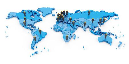 entities: 3d render of businessmen standing on major economic entities Stock Photo
