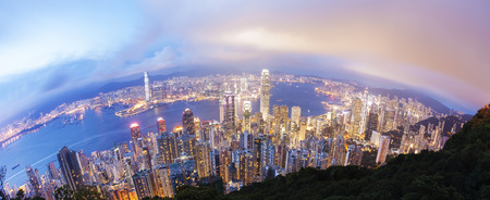 finanical: View of Victoria Harbour in Hong Kong from the Peak, fisheye view Stock Photo