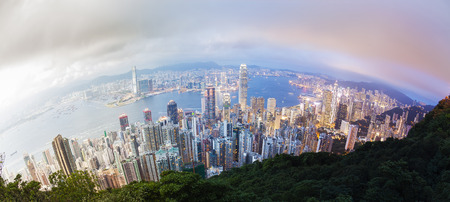 transition: Panoramic day to night transition of Hong Kong, fisheye view Stock Photo