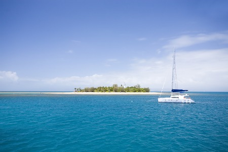 low: Yacht near Low Isles at Great barrier reef, Australia