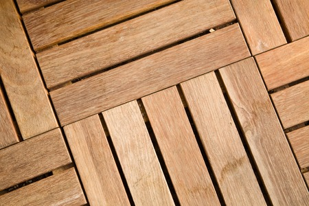 decking: Close-up view of outdoor wooden decking tiles