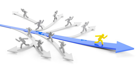 Direct road to success concept, 3d render Stock Photo