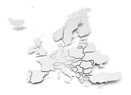 3d render of paper map of Europe with national borders