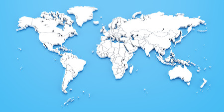 Blue world map with national borders against blue background, 3d render