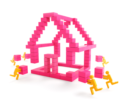 house building: Building a house with generic toy blocks, 3d render