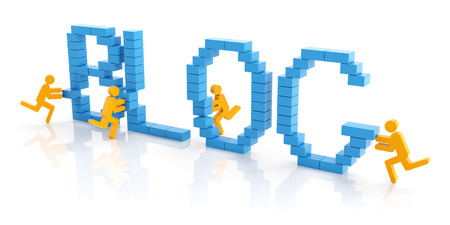 BLOG: Work together to create a blog, 3d render Stock Photo