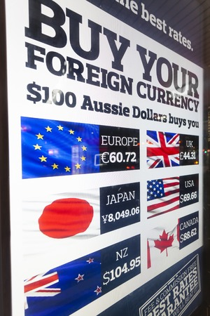 trading board: Melbourne, Australia - Aug 30, 2015: Foreign exchange rates on LED display board outside a foreign exchange store in Melbourne, Australia Editorial