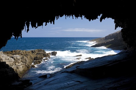 The cave of Admirals Arch on Kangaroo Island, South Australia Stock Photo