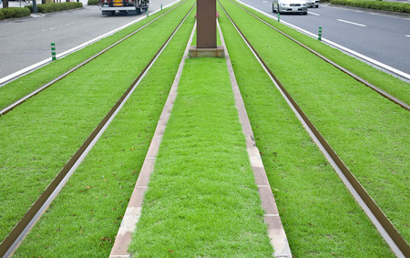 tramway: Tramway tracks on green lawn in Japan
