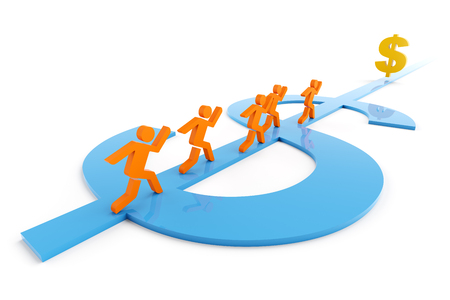 group direction: 3d render of people running along a dollar symbol shaped path towards a dollar sign Stock Photo