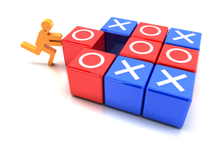 tic tac toe: Puzzle cubes with tic tac toe game, 3d render Stock Photo