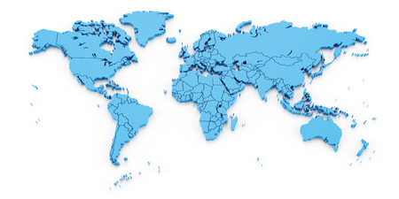 Detail world map with national borders, 3d render, white background