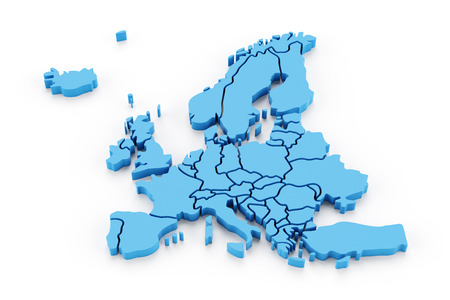 Extruded map of Europe with national borders, 3d render Banco de Imagens