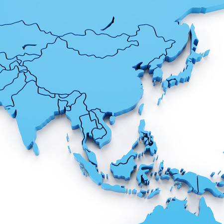Extruded map of Asia with national borders, 3d render