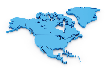 Extruded map of north america with national borders, 3d render