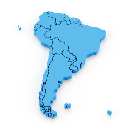 Extruded map of south america with national borders, 3d render