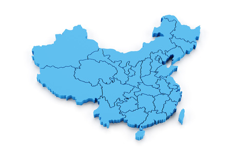 Kaart van China met provincies, 3D render Stockfoto