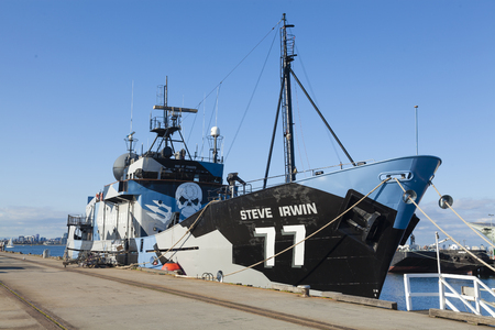 steve: Melbourne, Australia - Sep 5, 2015: MY Steve Irwin, flagship of the Sea Shepherd Conservation Society, at a dock in Melbourne, Australia