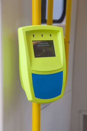 onboard: Clsoe-up view of ticket reader onboard a tram Stock Photo
