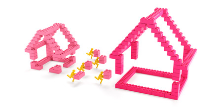 building bricks: Building a bigger house with generic toy blocks, 3d render