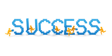 success concept: Teamwork success concept, 3d render, white background Stock Photo