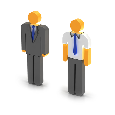 3d manager: Manager and worker, 3d render, white background