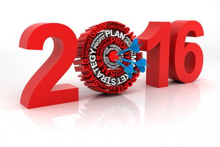 goals: 2016 business target, 3d render, white background