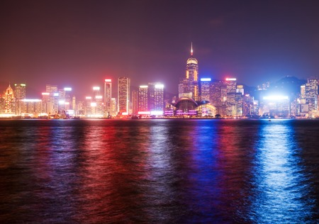 finanical: View of Victoria Harbour of Hong Kong at night