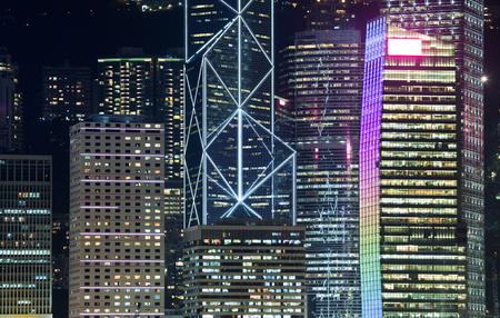 finanical: Close-up view of skyscrapers in the CBD of Hong Kong at night