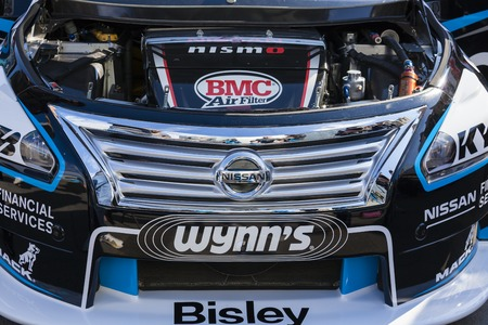 supercar: Melbourne, Australia - Sep 5, 2015: Engine under the hood of a V8 Supercar vehicle on public display in Melbourne, Australia