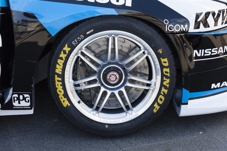 tuning: Melbourne, Australia - Sep 5, 2015: Close-up of the wheel of a V8 Supercar vehicle on public display in Melbourne, Australia