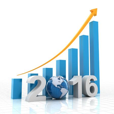 Chart for 2016 showing growing trend, 3d render Zdjęcie Seryjne - 45332767