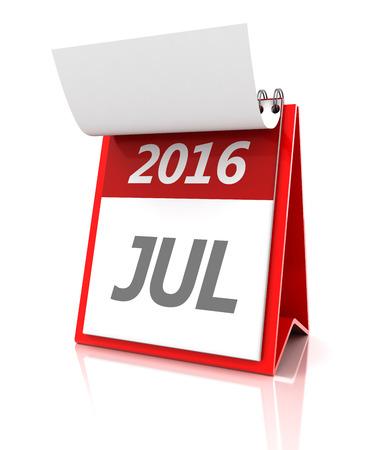 july calendar: 2016 calendario de julio, 3d, fondo blanco