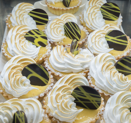 party pastries: Close-up view of Lemon meringue tarts in a cafe