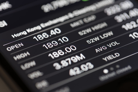 stock prices: Melbourne, Australia - Sep 22, 2015: Close-up view of stock market data in iPhone Stocks app