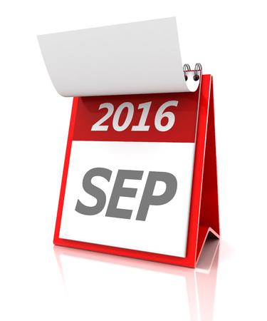 september calendar: 2016 September calendar, 3d render, white background Stock Photo