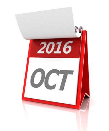 october: 2016 October calendar, 3d render, white background