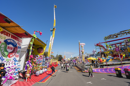 showground: Melbourne, Australia - Sep 25, 2015: People visiting the carnival precinct in the 2015 Royal Melbourne Show