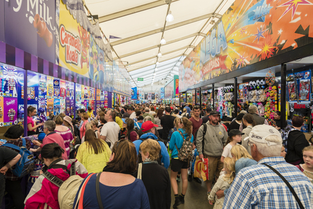 showground: Melbourne, Australia - Sep 25, 2015: People buying showbags at the 2015 Royal Melbourne Show