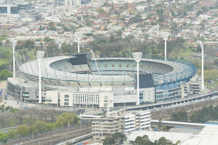 ground: Melbourne, Australia - Sep 22, 2015: Aerial view of the Melbourne Cricket Ground MCG. It is the largest sports stadium in Australia and the 10th largest in the world.