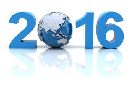 china business: New year 2016 with globe, 3d render Stock Photo