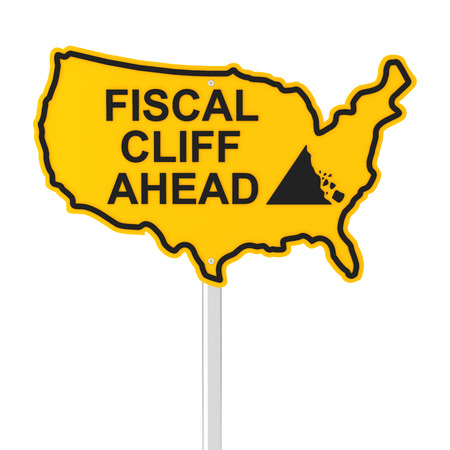 financial cliff: USA fiscal cliff road sign, 3d render Stock Photo