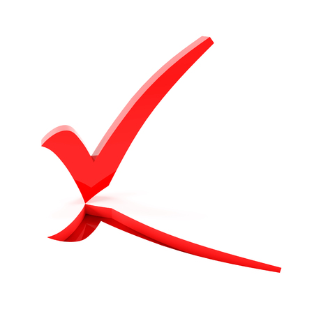 checkmark: Red checkmark flipping up on white background, 3d render