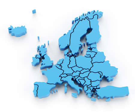 europe map: Extruded map of Europe with national borders, 3d render Stock Photo