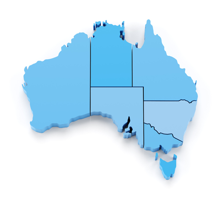 Extruded map of Australia with state borders, 3d render