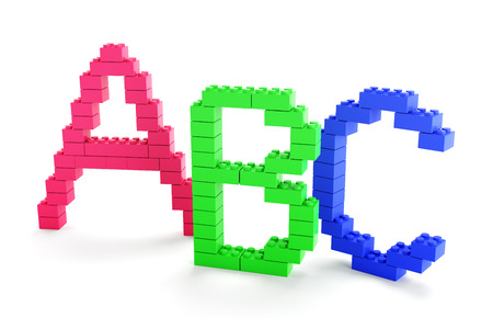 toy blocks: 3d render of ABC alphabets made of plastic toy blocks Stock Photo