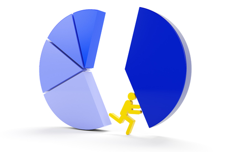 segment: Taking the major segment from a pie chart, 3d render Stock Photo