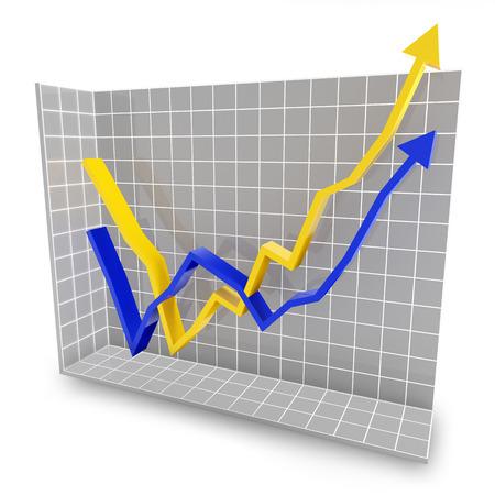 rebound: Line graph showing rebound trend, 3d render