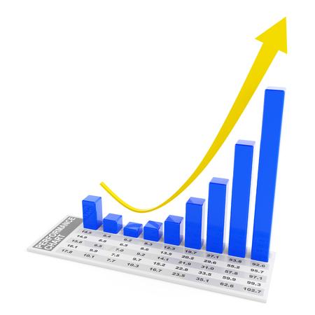 rebounding: Rebounding performance chart, 3d render, white background